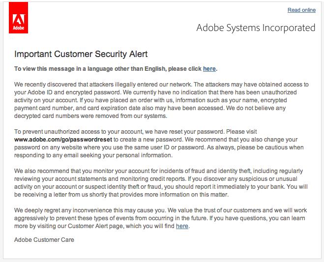 Adobe Password Leak - Cyber Security Website Cyber Security Website